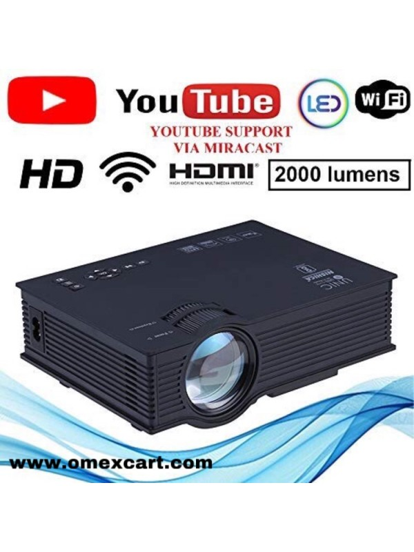 04f25fb7eb777a 2000 LM 1080P HD WIFI PROJECTOR MIRACAST/AIRPALY/WIFI DISPLAY/USB/SD/H