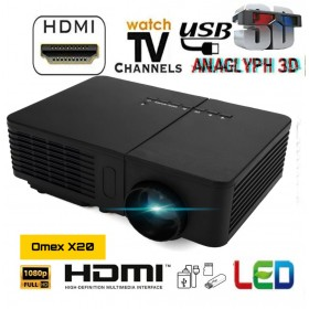 2020 Newest Omex X20 1080P HD LED PROJECTOR 100 inch Home Theater USD HDMI VGA AV TV SD AUX IN