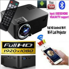Support Smart Android Wi-Fi/BT VIDEO PROJECTOR Best Use HOME TV/BUSINESS/CLASSES/SCHOOL/HOTEL/GAME/GYM Price