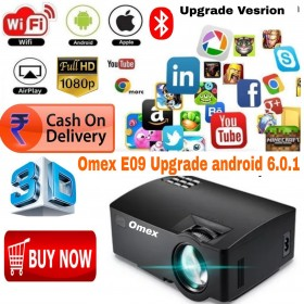 UPGRADE VERSION ANDROID 6.0.1SMART 1080P HD LED PROJECTOR WIFI/BT/USB/AV/HDMI/VGA/SD/DLNA/MIRACAST/WIFI DISPLAY/AIRPLAY