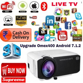 UPGRADE VERSION ANDROID 7.1 SMART 1080P HD LED PROJECTOR LOW PRICE UPGRADE VERSION ANDROID 7.1 WIFI/BT/2USB/AV/DLNA/MIRACAST/WIFI DISPLAY/AIRPLAY