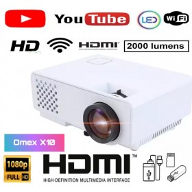 2000LM Advanced Version YouTube Play WiFi X10 WIFI 1080P Full HD Led Home Theatre Multipurpose Projector with WiFi HDMI AV VGAUSB Inbuilt Speaker