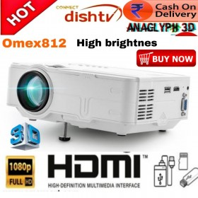 Omex812 LED 1080P HD Projector Wired Sync Display LCD 3D Projector Multi Screen HDMI VGA USB Video Home Theater