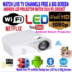Smart Android WIFI /BT LED PROJECTOR BEST FOR BUSINESS/CLASSES/HOME TV/HOTEL/PLAY STATION/OUTDOOR CINEMA/GYM/SCHOOL/EVENTS