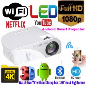 Full HD Android WIFI/BT Smart LED Projector USB/SD/AV/HDMI/VGA/TV input best us Business/classes/school/Home/Hotel/Event