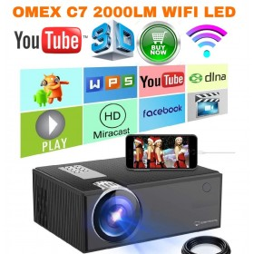 2000LM OMEXC7 MIRACAST/WIFI 1080P HD LED PROJECTOR BEST FOR BUSINESS/SCHOOL/CLASSES/HOTEL/CAFÉ/EVENTS/GAME/HOME TV
