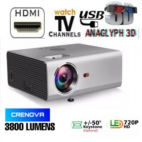 CRENOVA 1280p HD 3800LM PROJECTOR BEST FOR SCHOOL/CLASS/HOTEL/EVENT/HOME/GAMEING  BEST LOW PRICE HOME CINEMA PROJECTOR USB/SD/VGA/2HDMI/AV IN